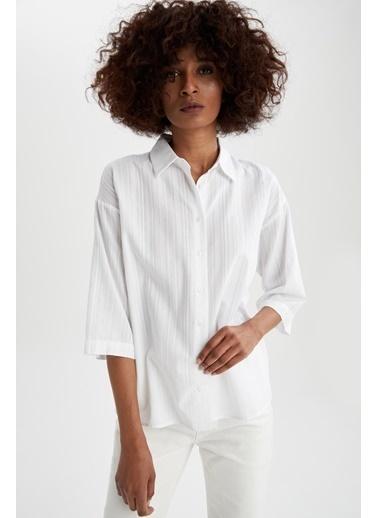 DeFacto Çizgili Yarım Kollu Relax Fit Gömlek Beyaz